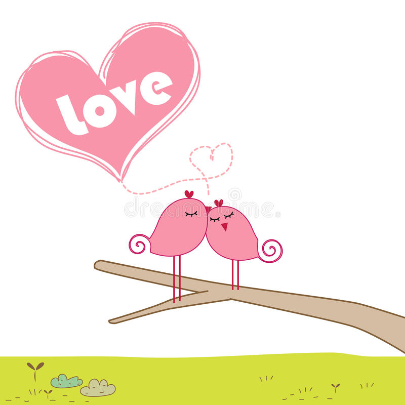Birds are kissing on branch. Greeting card vector illustration