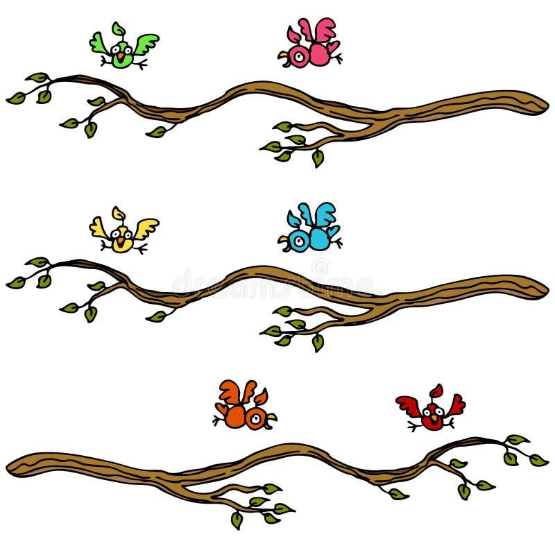 Birds Landing on a Branch stock illustration