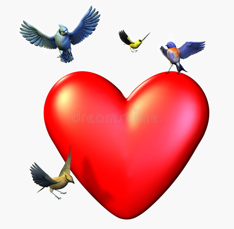 Birds Landing on a Heart - includes clipping path. 3D render of birds landing on a heart royalty free illustration