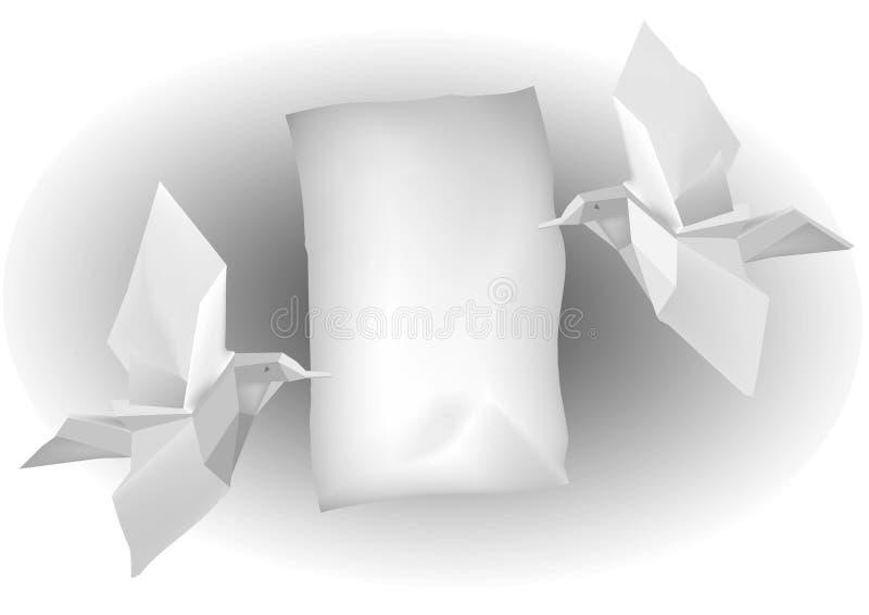 Birds_with_letter de Paper_ stock de ilustración