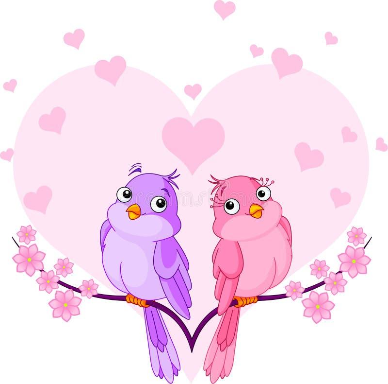 Birds in love. Two very cute pink birds in love