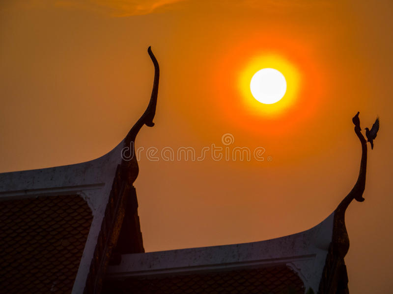 Thailand. Magical sunset over Buddhist temple with birds