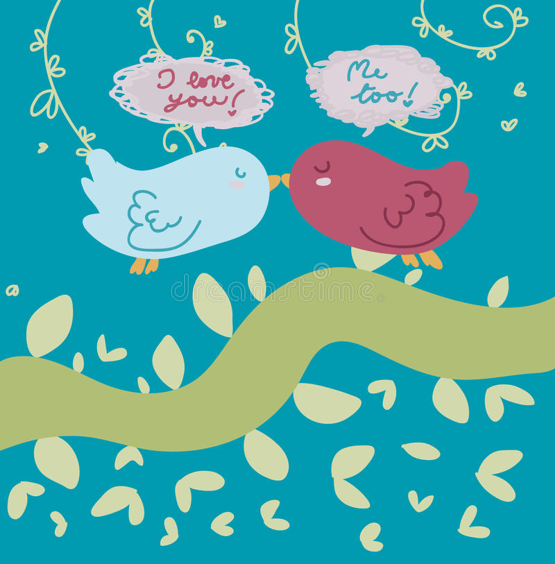 Birds in love card royalty free stock images
