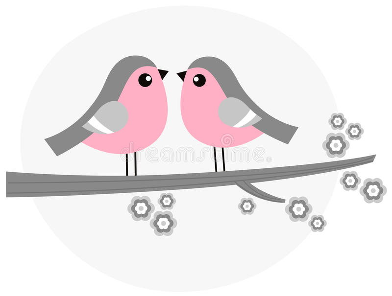 Cute bird couple on blossom branch ( pink and grey royalty free illustration