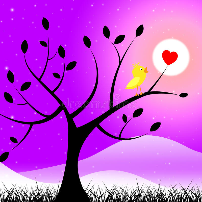 Birds Nature Means Valentine Day And Affection vector illustration