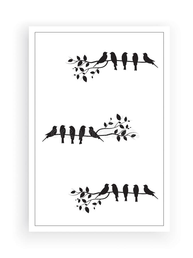 Free Birds On Branch Silhouette Vector, Wall Decals, Wall Artwork, Birds On Tree Design, Birds Silhouette. Art Design Stock Images - 169702754