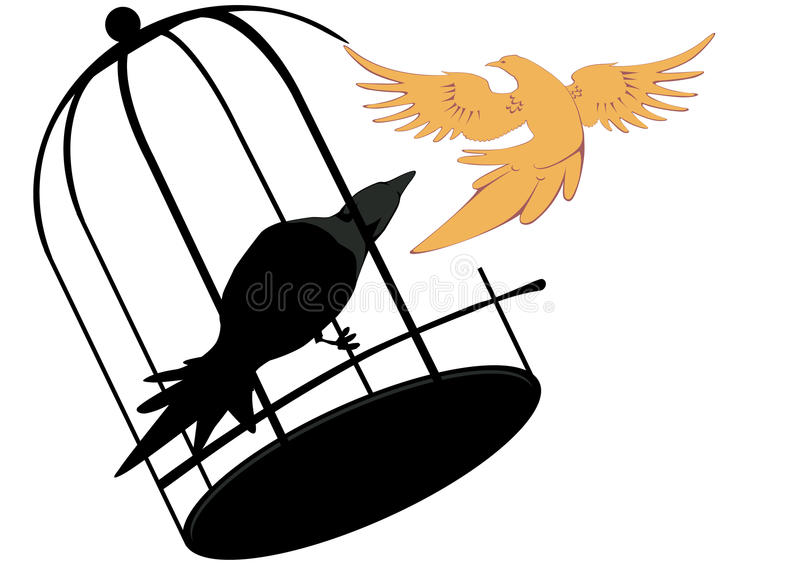 Birds in one cage, the other on the loose stock photo