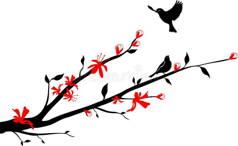 Download Birds On An Oriental Cherry Branch Stock Vector - Illustration of silhouette, computer: 13566535