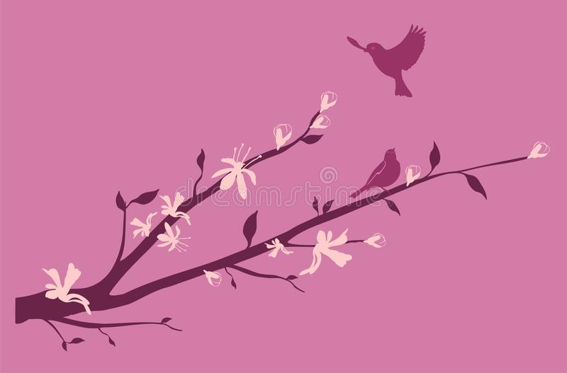 Download Birds On An Oriental Cherry Branch Stock Vector - Image: 13844265
