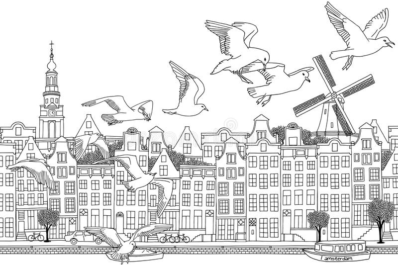 Birds over Amsterdam. Amsterdam, Netherlands - hand drawn black and white cityscape with seagulls royalty free illustration