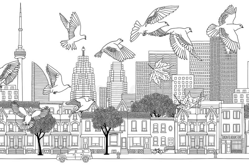 Birds over Toronto. Hand drawn black and white illustration of the city with a flock of pigeons royalty free illustration