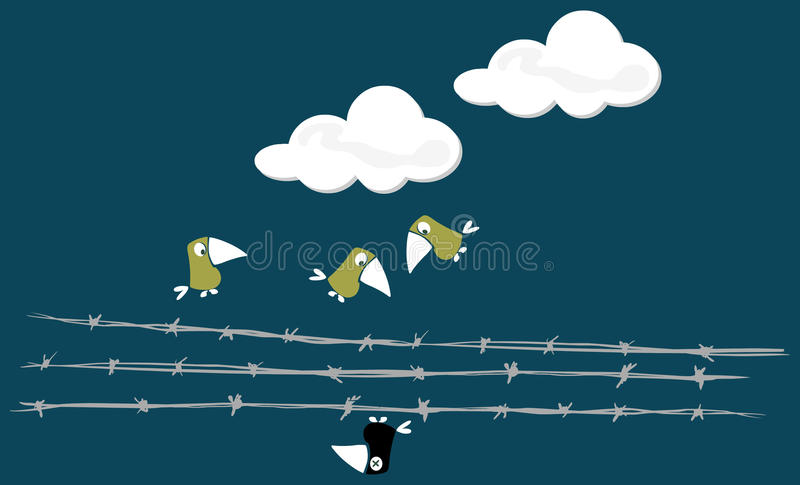 Birds over the wire stock photography
