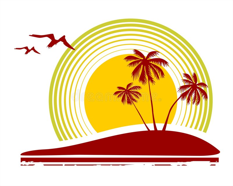 Birds and palm trees stock illustration