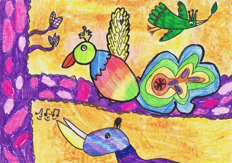 Birds of paradise sing songs. Children`s drawing.  stock illustration
