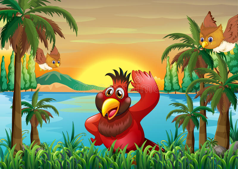 Birds at the riverbank near the coconut trees royalty free illustration
