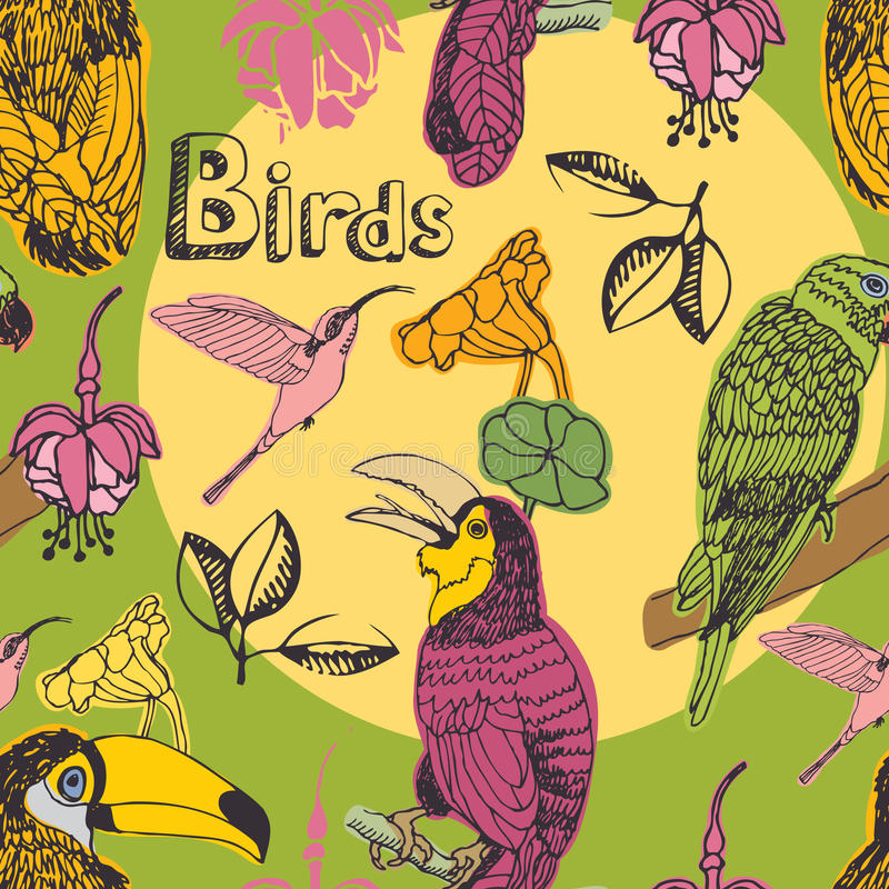 Birds seamless pattern stock illustration