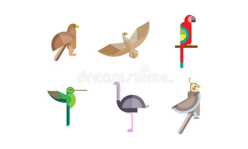 Birds set, eagle, falcon, hummingbird, ostrich, parrot, quezal bird, colorful polygonal low poly geometric design royalty free illustration