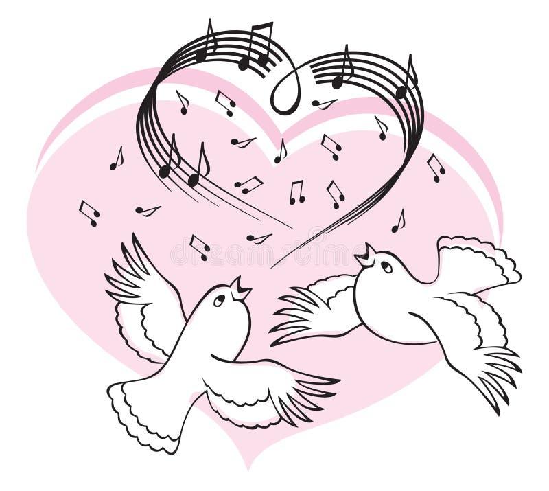 Birds sing a song of love. vector illustration