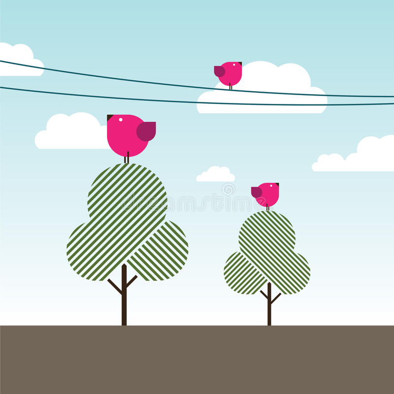 Birds Singing On Trees And Powerlines Royalty Free Stock Images
