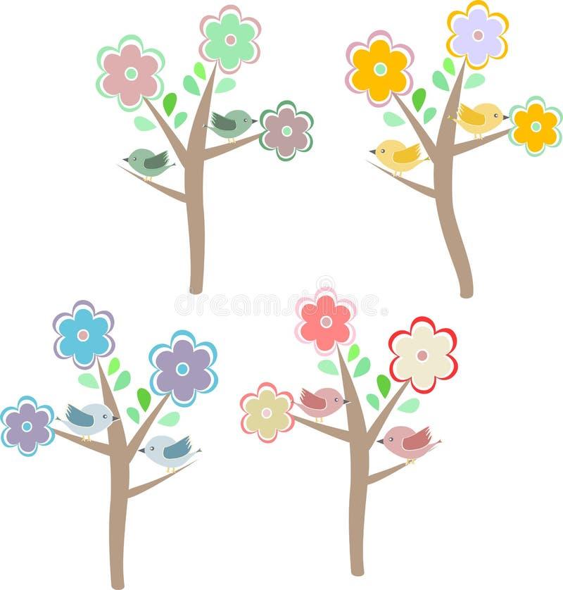 Free Birds Sitting On Trees. Seasons - Spring, Summer Royalty Free Stock Image - 24548886