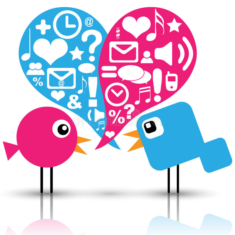 Birds with social media icons. Illustration of bird communication with social media icons stock illustration