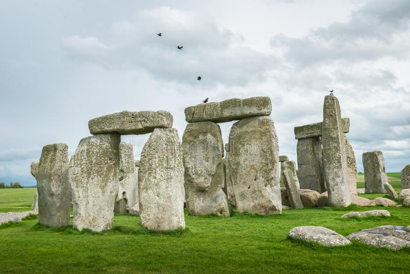 Birds on Sstonegenge. Birds in a row landoing on Stonehenge on a cloudy and windy spring day. Ancient ruins in Wiltshire, England, with no people or tourists stock photography