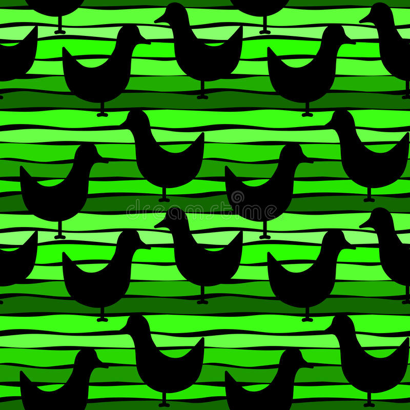 Download Birds On A Striped Green Seamless Background Stock Photo - Image: 95499306