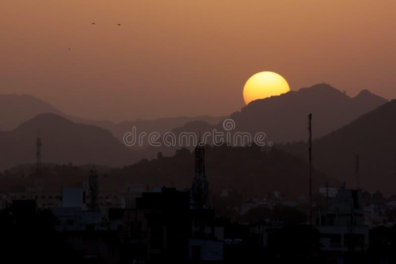 Birds at Sunset, Mountains - India stock photo