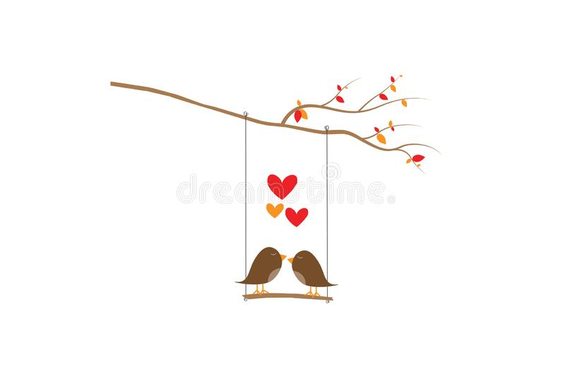 Birds Couple Silhouette Vector, Birds on swing on branch, Colorful Wall Decals, Birds in love in nature in autumn season stock illustration