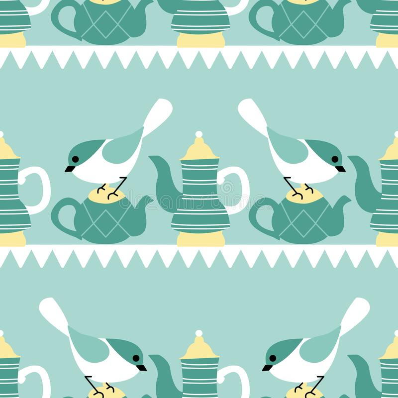 Birds and tea pots in a seamless pattern design stock illustration