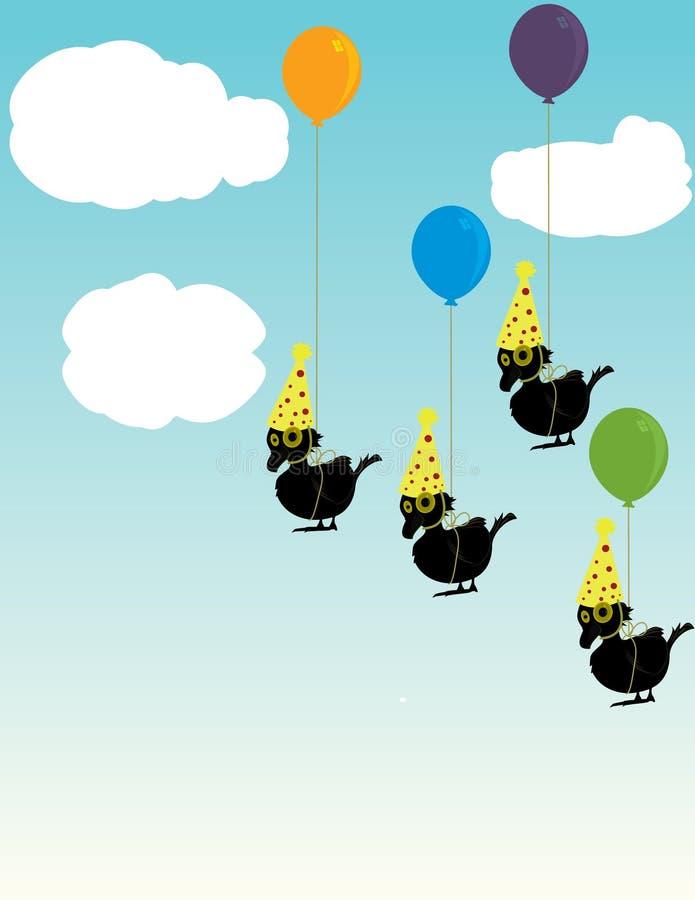 Birds tied to balloons vector illustration