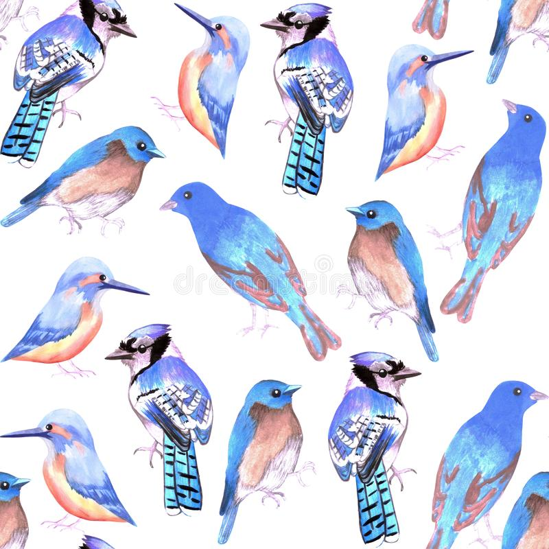 Birds in tints and shades of blue seamless watercolor bird painting background.  royalty free illustration