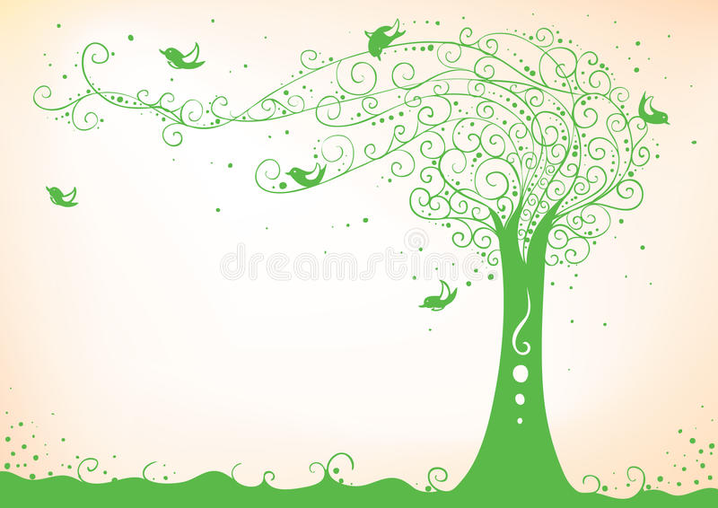 Birds with tree. Beautiful illustration of the tree with curly branches and birds sitting on them (AI8 with gradient royalty free illustration