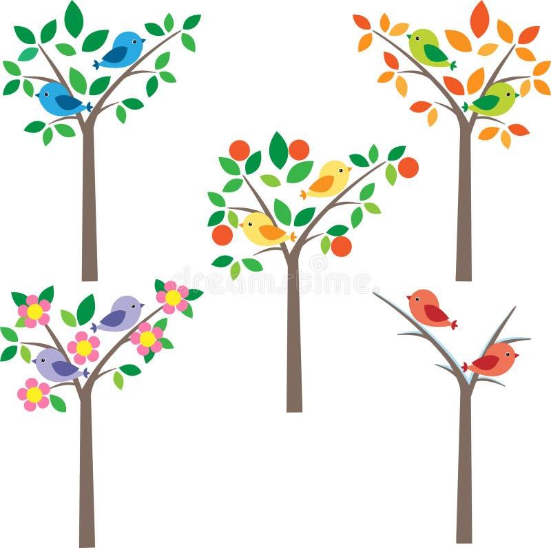 Birds on tree vector illustration