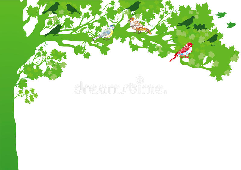 Birds in a tree royalty free illustration