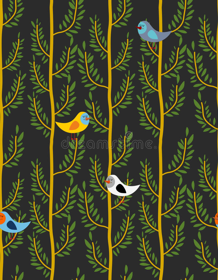 Birds on trees seamless pattern. Vector background of forest wi stock illustration