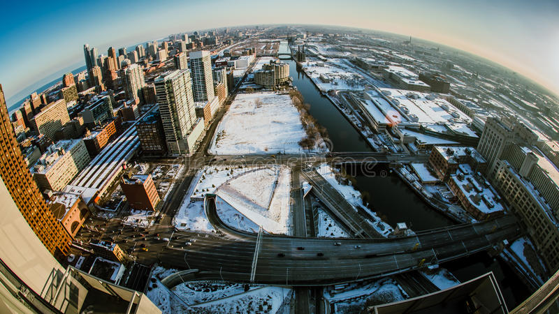 Birds view of Chicago Winter royalty free stock images