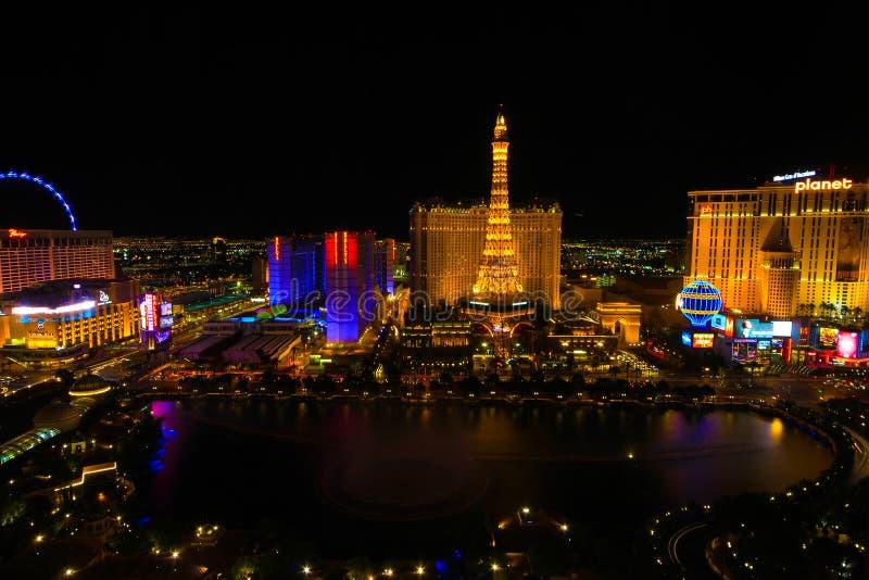 Birds view of Las Vegas Strip at night stock photo