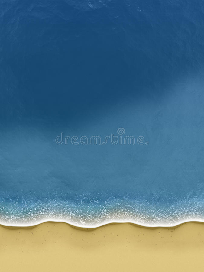 Birds-view of waves rolling over the beach royalty free illustration