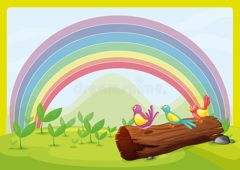 Birds watching the rainbow. Illustration of birds watching the rainbow stock illustration