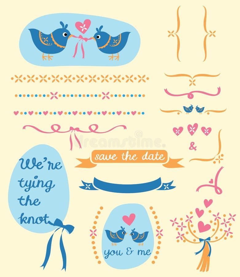 Birds wedding card royalty free stock image