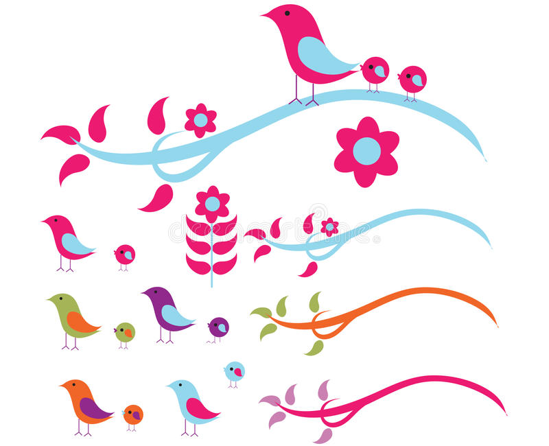 Download Birds on a wire stock vector. Image of trees, flower - 12581526