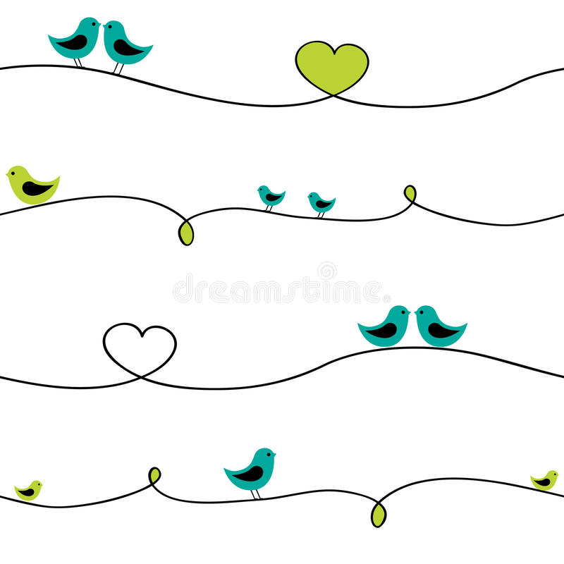 Birds on wire. Birds sitting on curve wire. Seamless pattern vector illustration