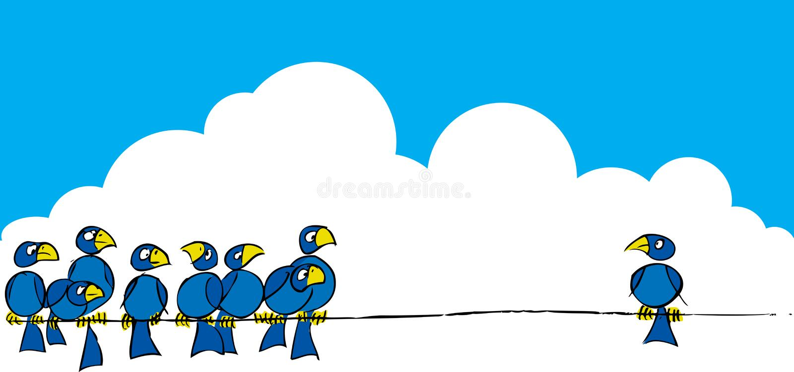 Download Birds on a wire #3 stock vector. Image of beak, painting - 7532289