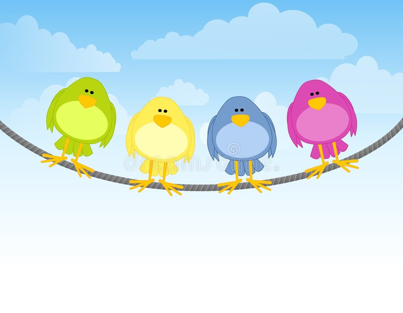 Birds on a Wire. An illustration featuring a row of four colourful birds sitting on a wire vector illustration