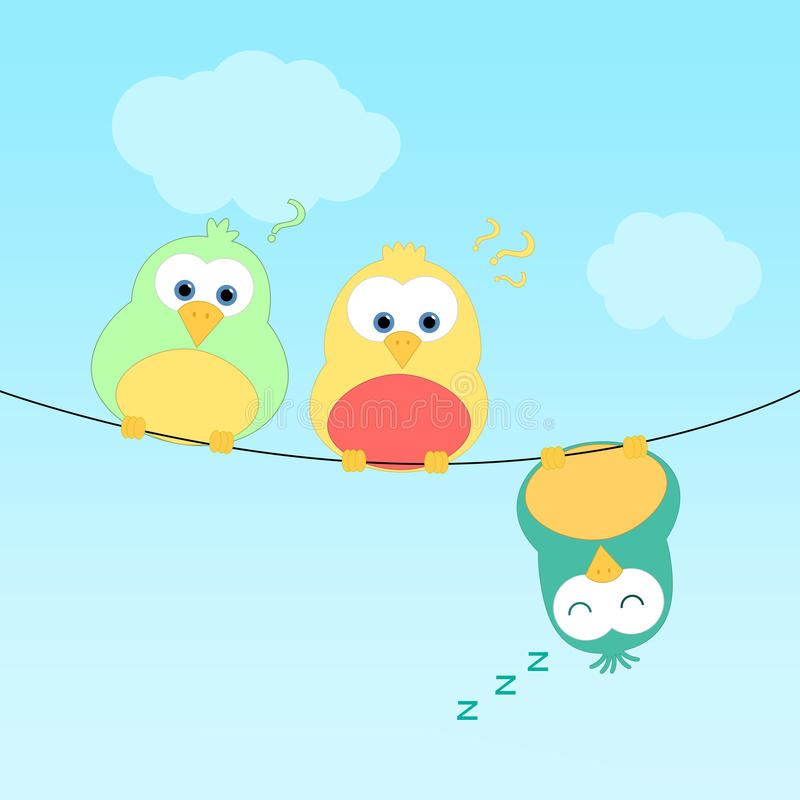 Birds on wire. Three birds sitting on a wire. One of them is upside down and sleeping. The other two look curious stock illustration