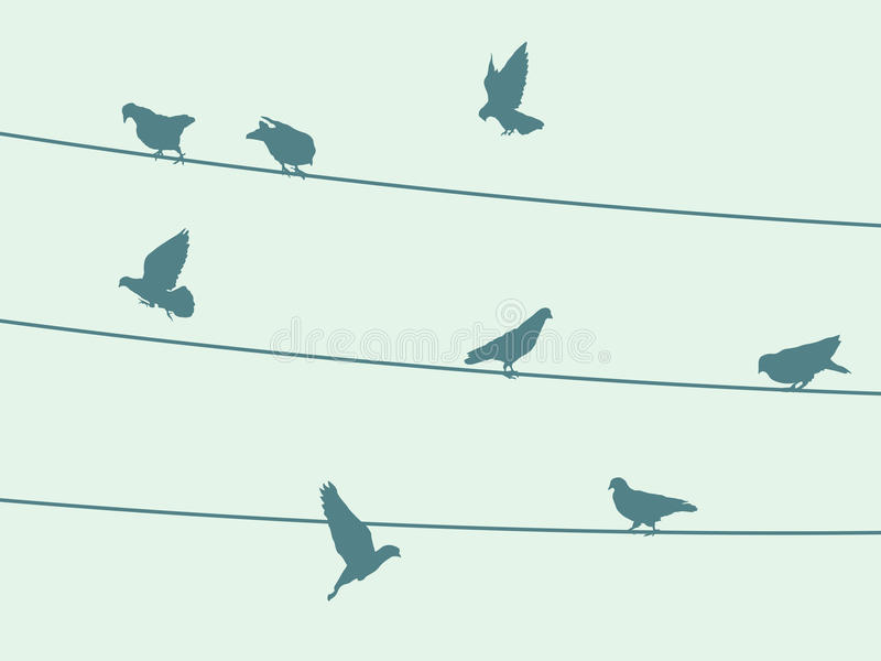 Birds on wire stock vector. Illustration of cling, claws - 90693562