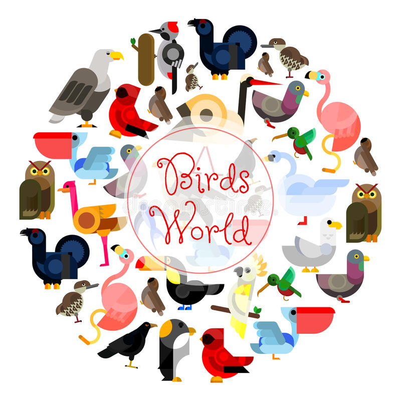 Birds world zoo emblem. Cartoon bird icons royalty free illustration