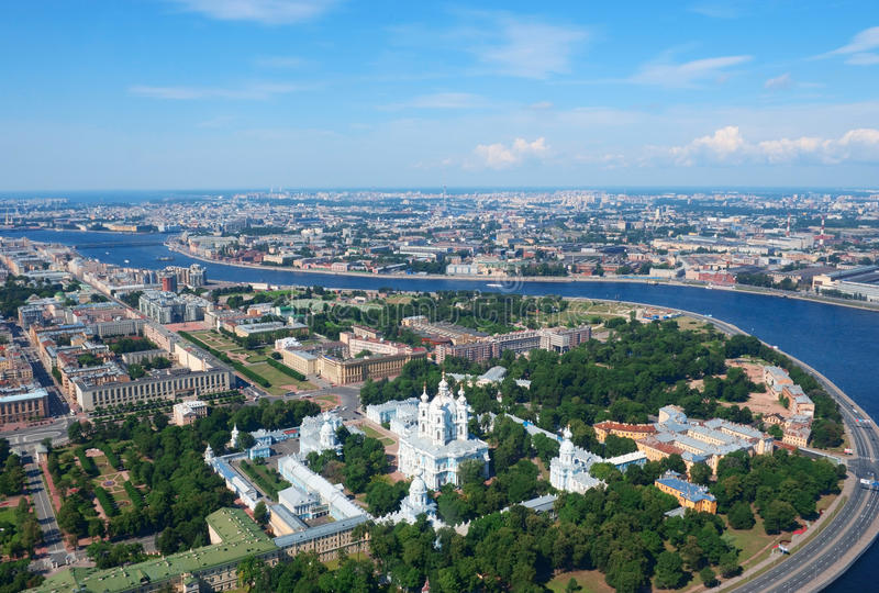 Birdseye view of Saint Petersburg stock photography