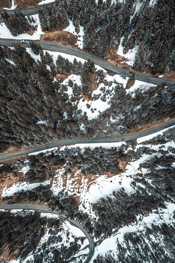Birdseye view of a snowy road royalty free stock photography